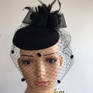 Fascinator Black Pillbox with polka dot veil